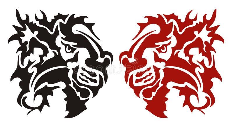 Cabeça flamejante perigosa tribal do leão ilustração royalty free