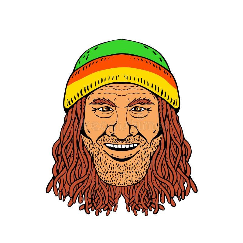 Cabeça Front Drawing Color de Rastafarian ilustração do vetor