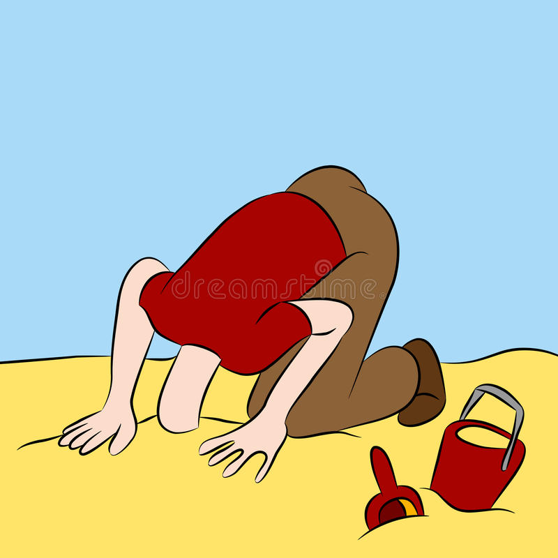 Cabeça furada na areia ilustração royalty free