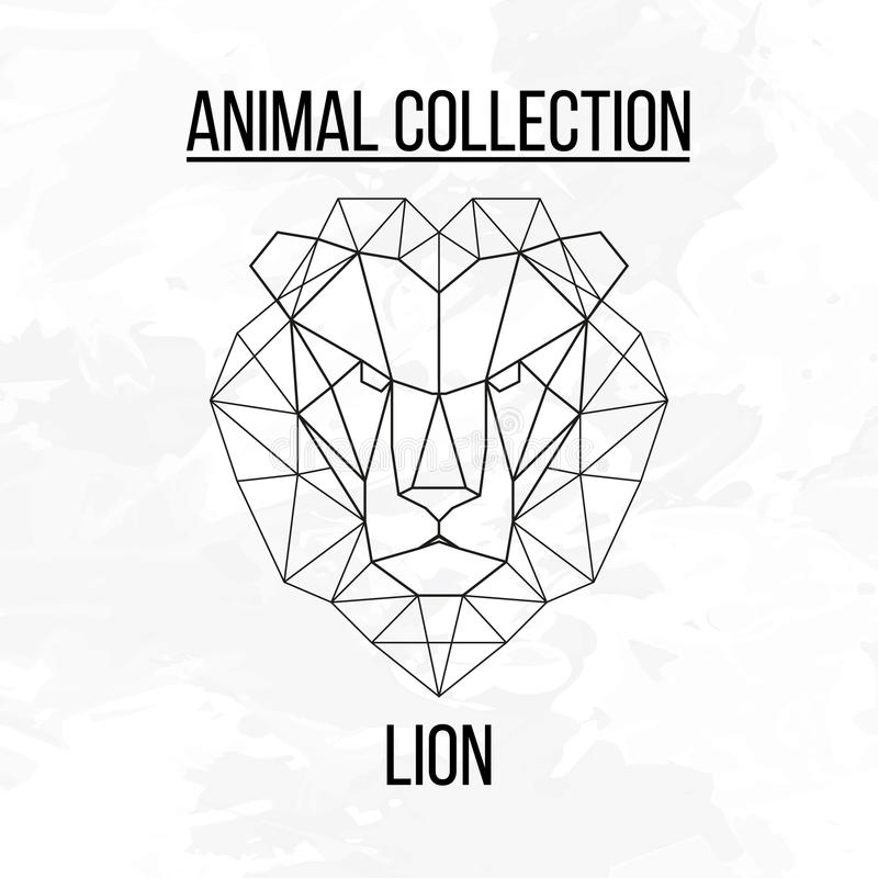 Cabeça geométrica do leão fotografia de stock