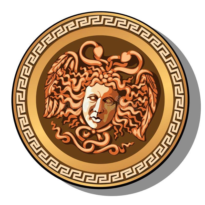 A cabeça gravada da cabeça de Gorgon do Medusa isolada no fundo branco Ilustração do close-up do vetor dos desenhos animados ilustração stock