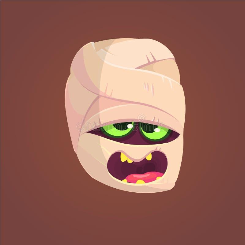 Cabeça gritando da mamã bonito Ilustração do vetor de Halloween Expressão da cara da mamã ilustração royalty free