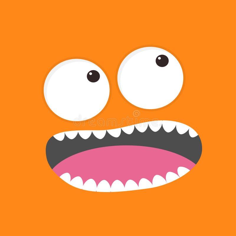 Cabeça gritando do monstro Boo Spooky enfrenta a emoção Olhos grandes, língua, colmilho dos dentes, rato Cabeça quadrada Cartão f ilustração do vetor
