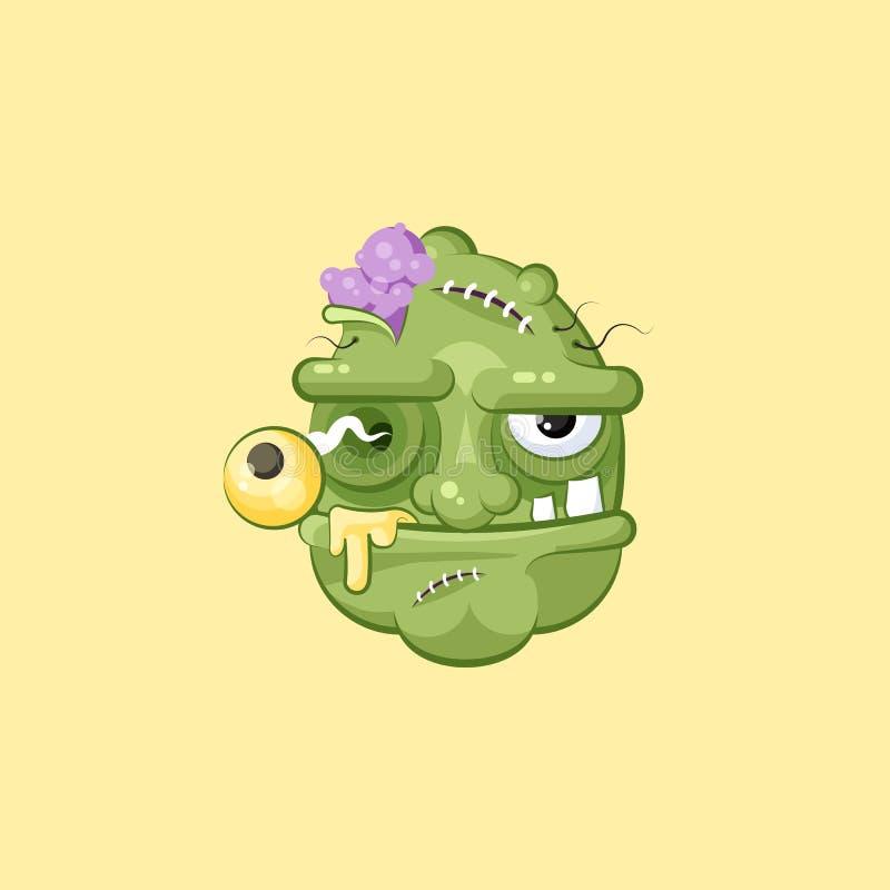 Cabeça horrívea dos desenhos animados, expressão facial terrível do zombi com fome ilustração royalty free