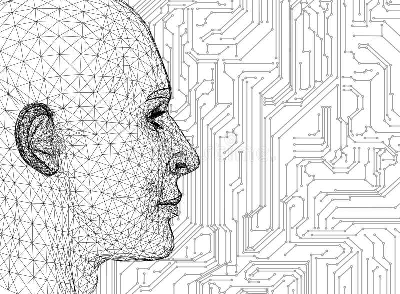 Cabeça humana abstrata com placa de circuito ilustração do vetor