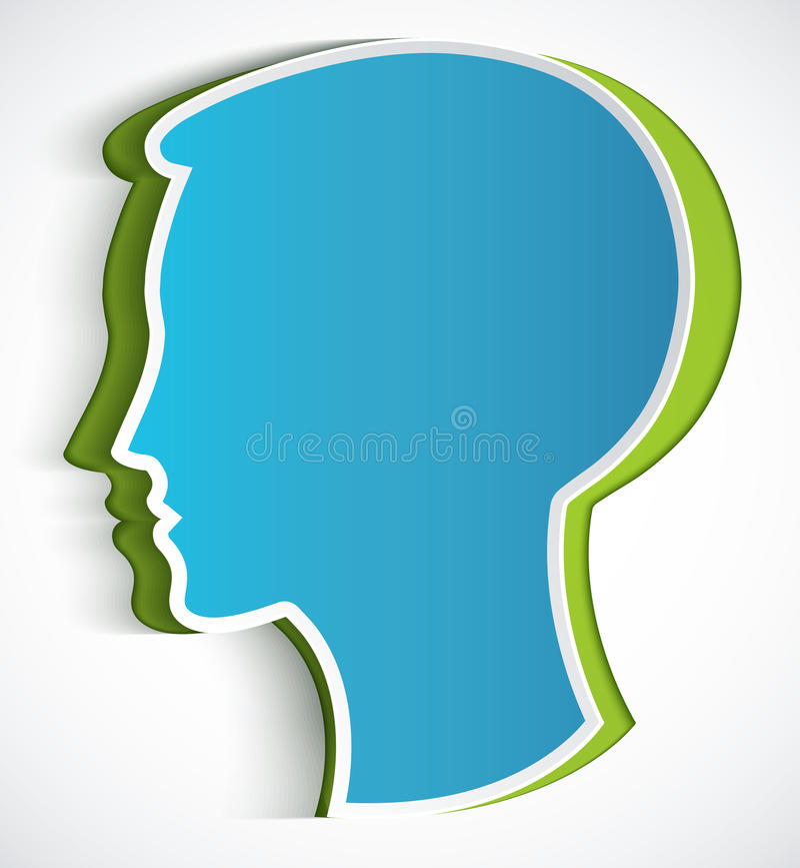 Cabeça humana. Cabeça azul de papel do símbolo ilustração stock