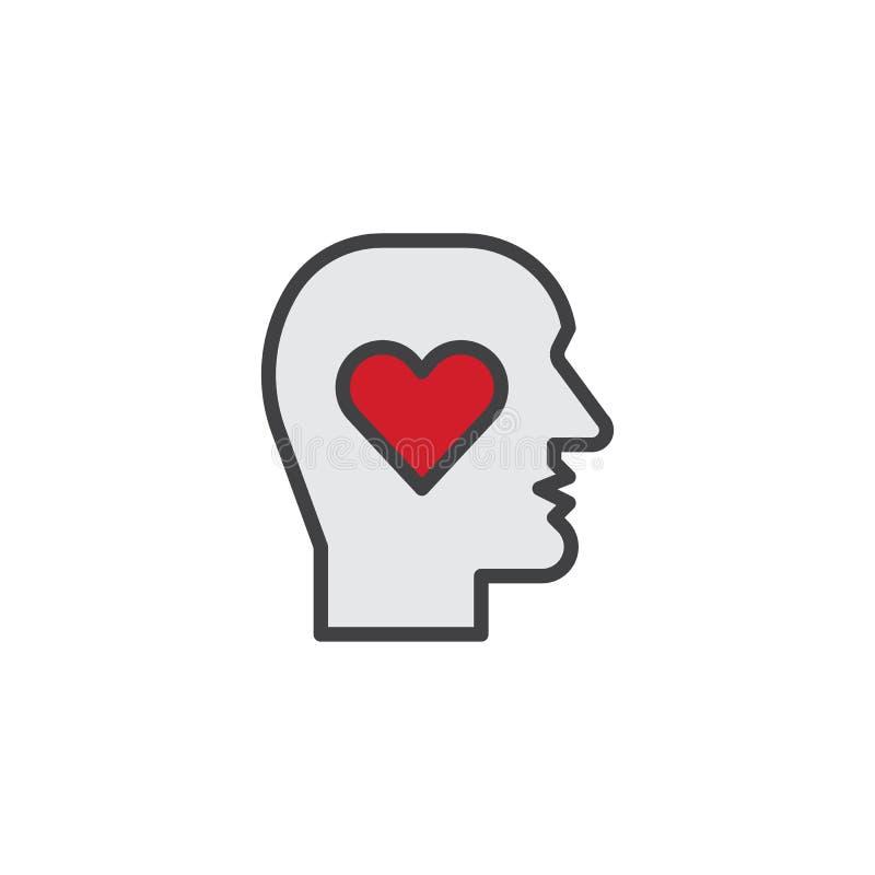 Cabeça humana com ícone enchido coração do esboço ilustração stock