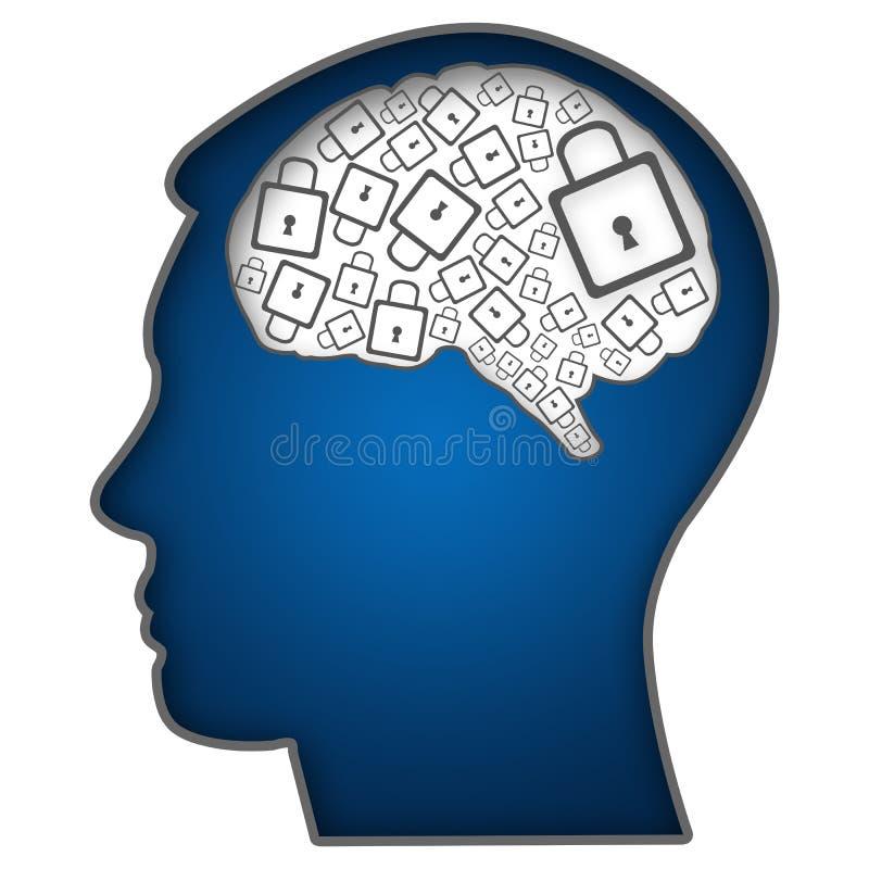 Cabeça humana com Brain Filled With Locks ilustração do vetor
