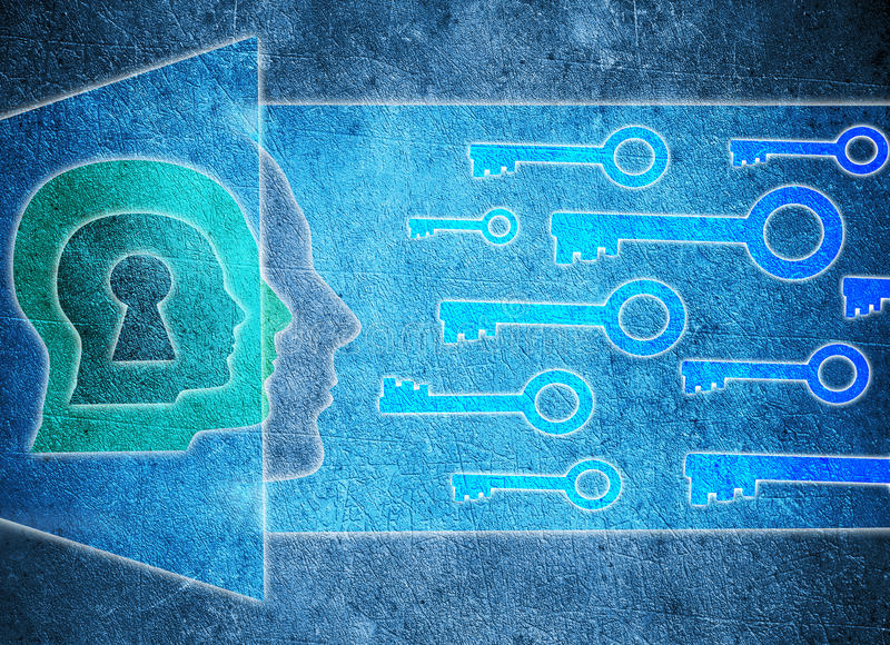 Cabeça humana com buraco da fechadura e ilustração digital do conceito da psicologia das chaves ilustração stock