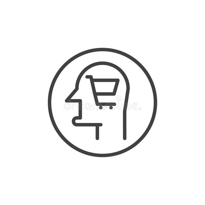 Cabeça humana com linha ícone do carrinho de compras ilustração royalty free