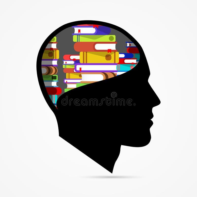 Cabeça humana com livros Conceito creativo da instrução ilustração do vetor