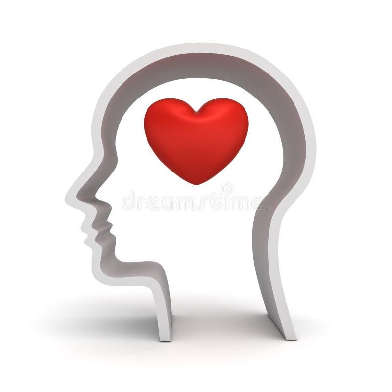 Cabeça humana com o interior do coração isolado no fundo branco com sombra ilustração stock