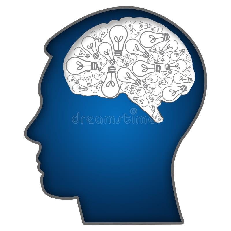 Cabeça humana com os bulbos no cérebro ilustração royalty free