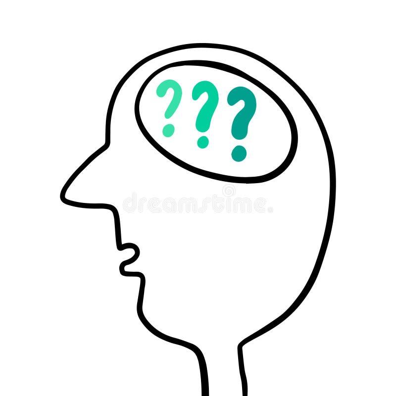 Cabeça humana com perguntas dentro da ilustração tirada mão do cérebro ilustração stock
