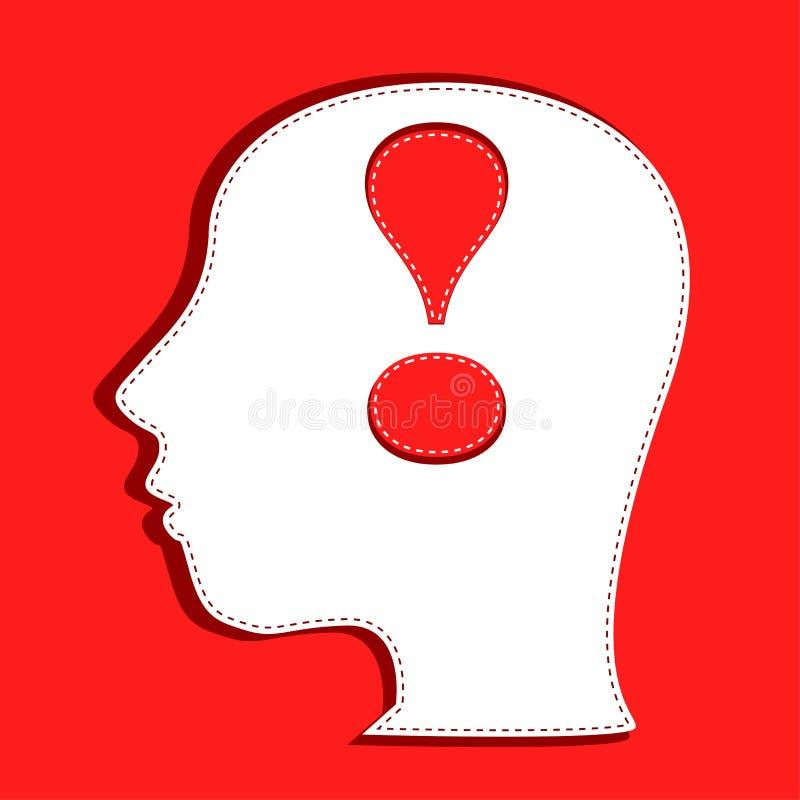 Cabeça humana com símbolo da marca de exclamação ilustração stock