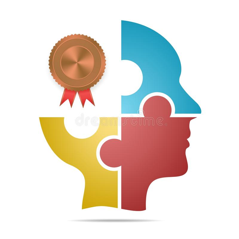 A cabeça humana composta de partes coloridas do enigma com etiquetas de bronze e da sombra vermelha do fita e a cinzenta abaixo d ilustração royalty free