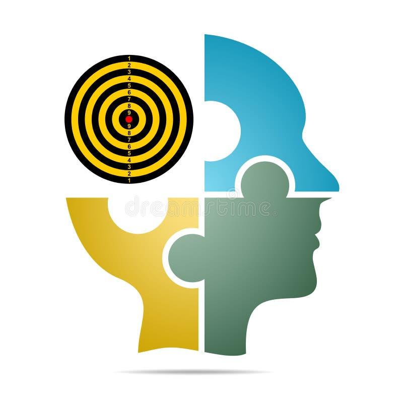 A cabeça humana composta do enigma colorido remenda com alvo da cor com sombra cinzenta abaixo da cabeça em um fundo branco Ser h ilustração do vetor