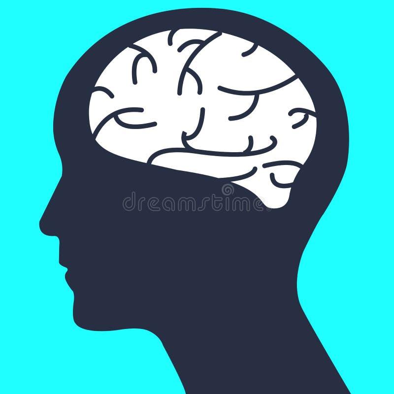 Cabeça humana da silhueta com vetor simples do cérebro ilustração royalty free