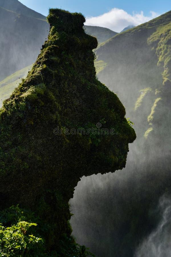 A cabeça humana deu forma à rocha pela cachoeira famosa de Skogafoss, Islândia foto de stock