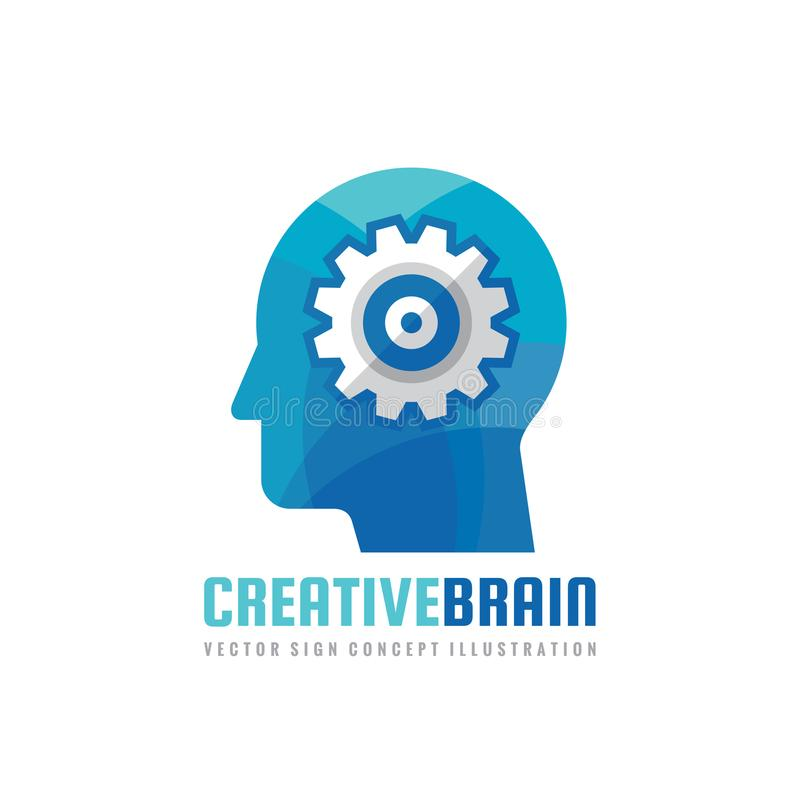Cabeça humana e processo do cérebro com engrenagem - vector a ilustração do conceito do logotipo do negócio no estilo liso do pro ilustração do vetor