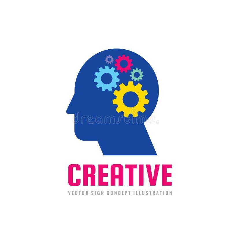 Cabeça humana e processo do cérebro com engrenagens - vector a ilustração do conceito do logotipo do negócio no estilo liso do pr ilustração royalty free