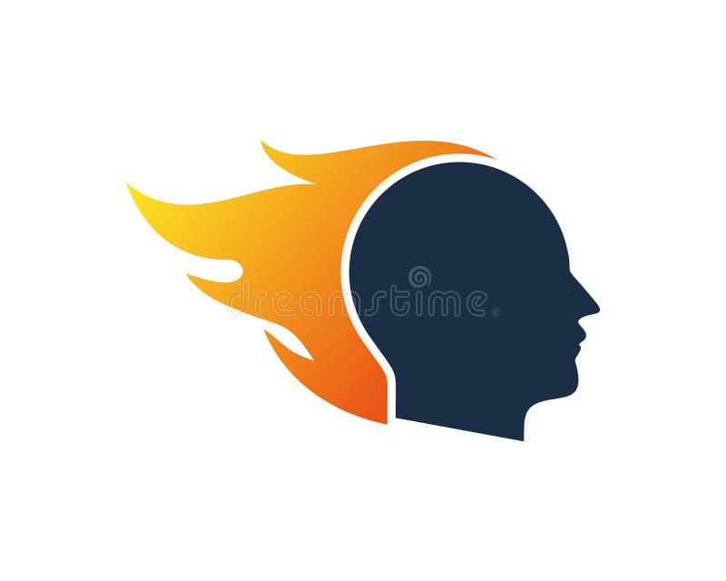 Cabeça humana Logo Icon Design da chama ilustração stock