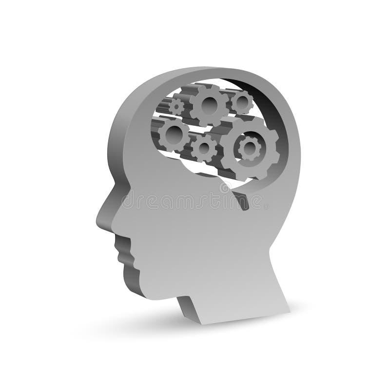Cabeça humana sob a forma de um símbolo com as engrenagens no cérebro Ilustração do vetor ilustração stock