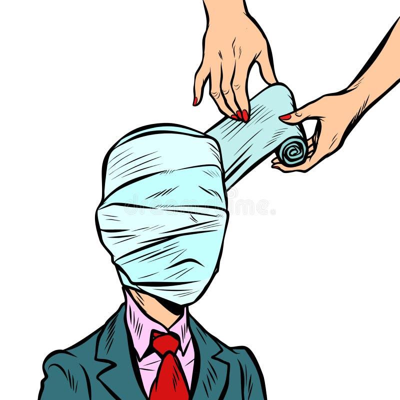 Cabeça inteiramente enfaixada, traumatismo médico ilustração royalty free