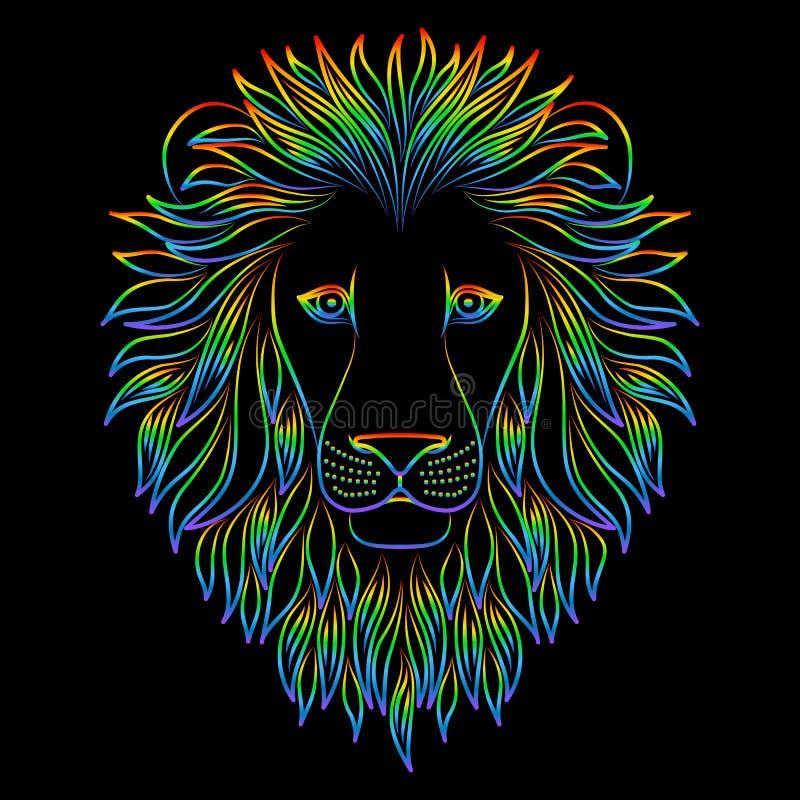 Cabeça iridescente isolada do esboço do leão no fundo preto Linha rei do arco-íris dos desenhos animados do retrato dos animais L ilustração do vetor