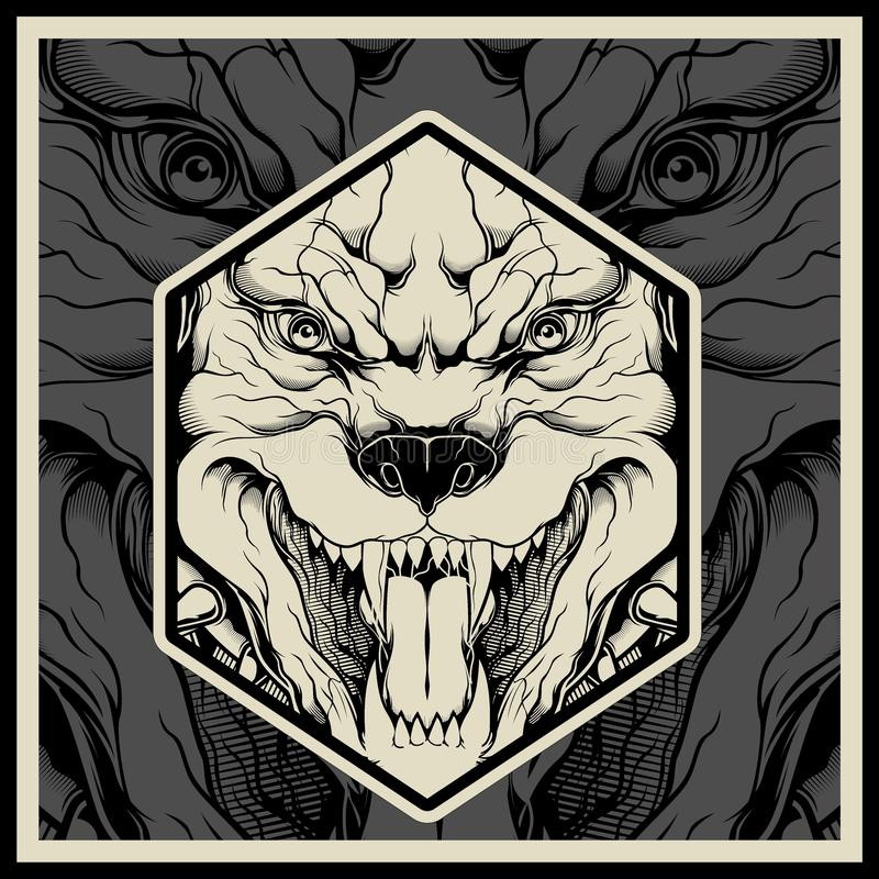 Cabeça irritada da mascote do pitbull da ilustração do vetor ilustração royalty free