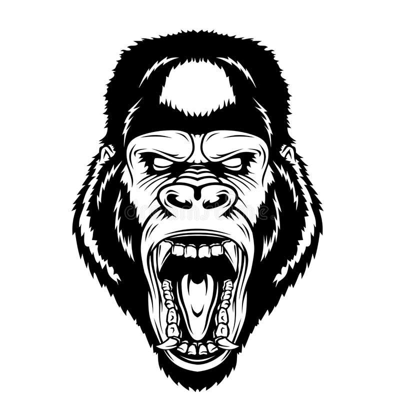 Cabeça irritada do gorila ilustração royalty free
