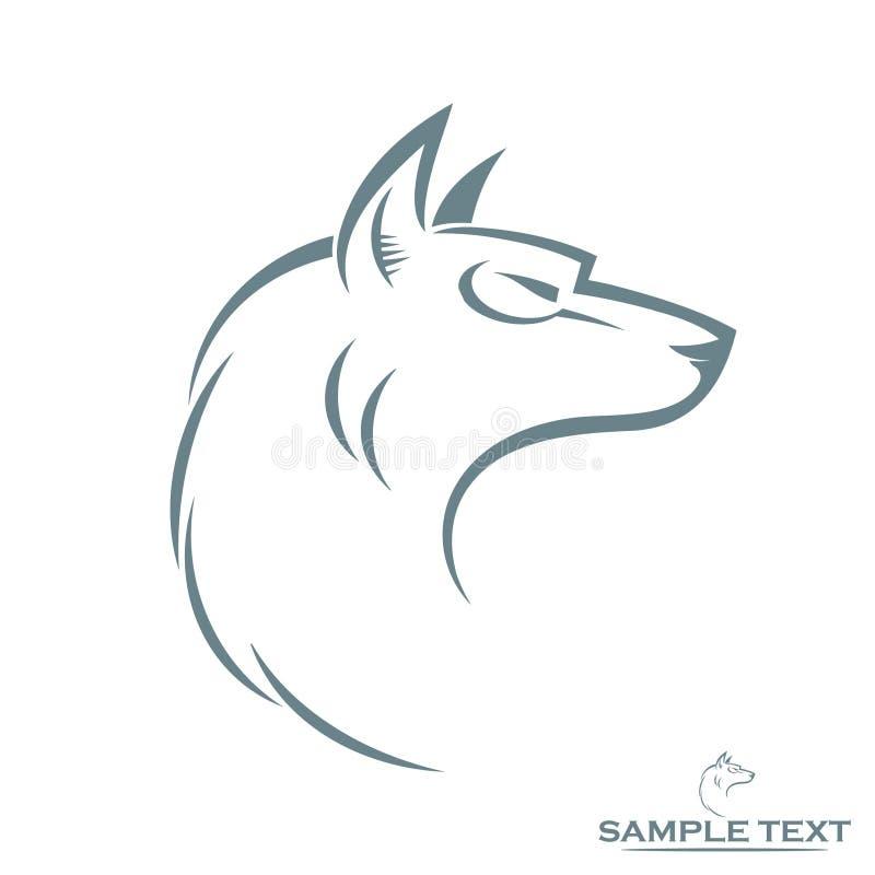 Cabeça isolada do lobo ilustração stock