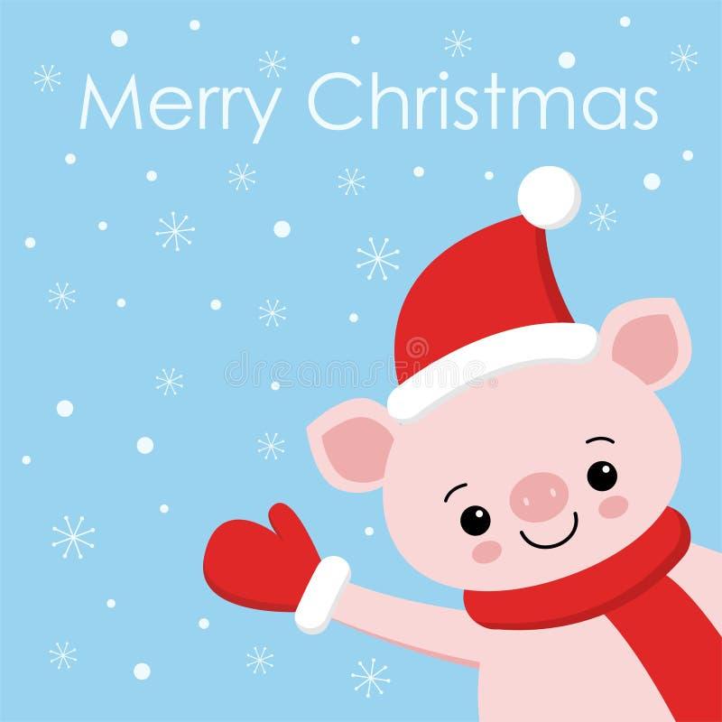 Cabeça leitão da cara do leitão do porco do ano novo feliz Floco da neve que cai para baixo Car?ter engra?ado dos desenhos animad ilustração do vetor