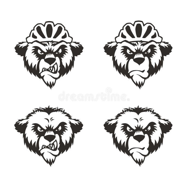 Cabeça Logo Mascot Emblem do urso ilustração royalty free
