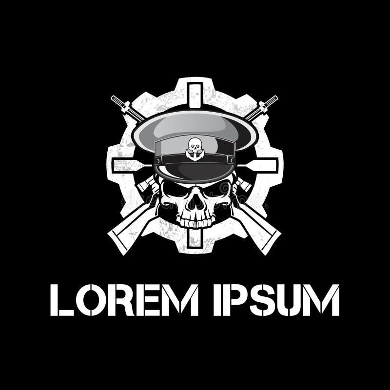 Cabeça marinha do crânio com vetor do logotipo do rifle ilustração stock