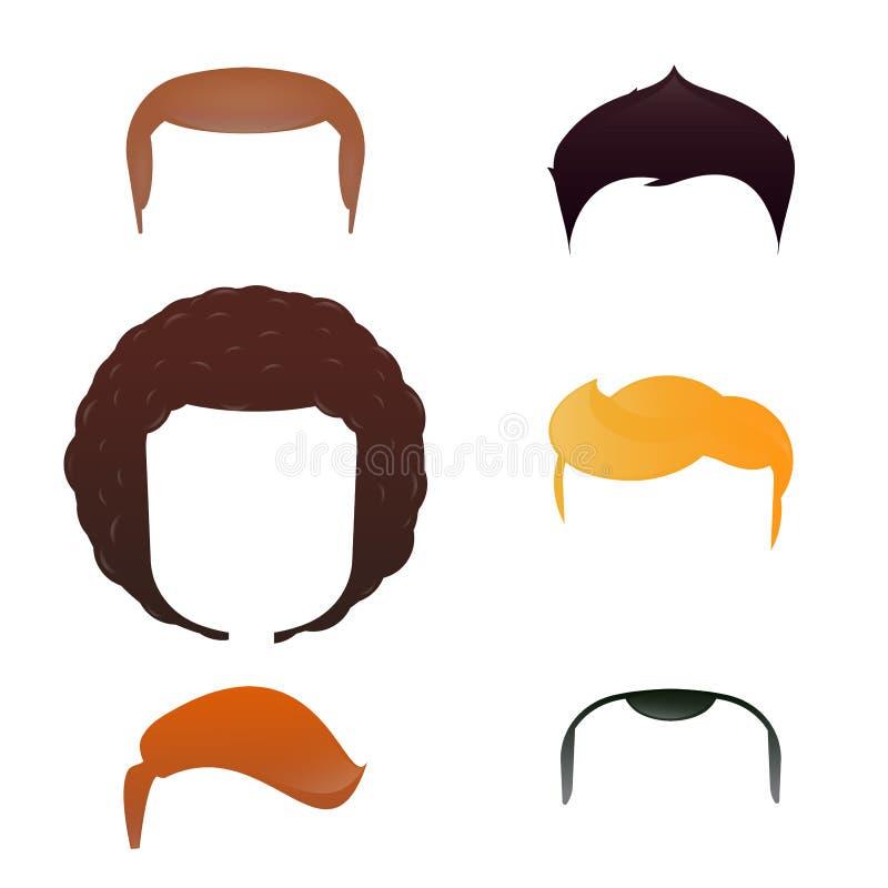 Cabeça masculina com variedade do corte de cabelo ilustração royalty free