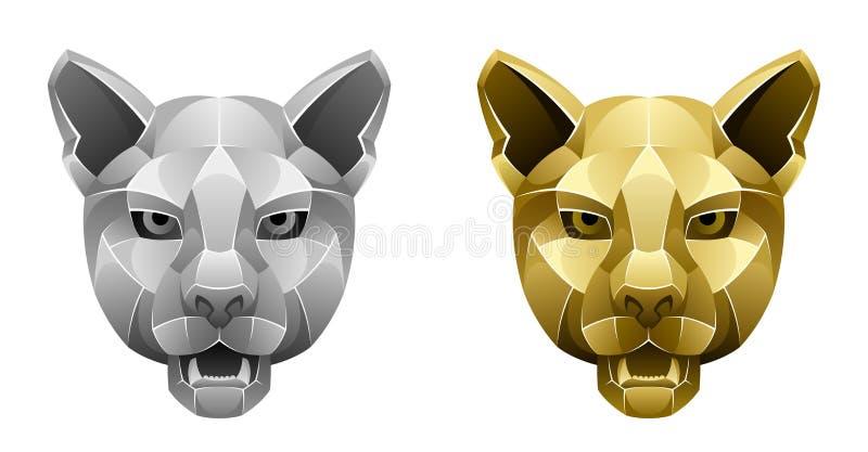Cabeça metálica do puma ilustração royalty free