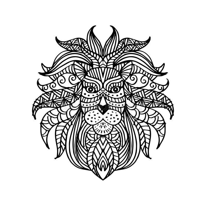 Cabeça modelada étnica do leão Ilustra??o do desenho da m?o ilustração do vetor
