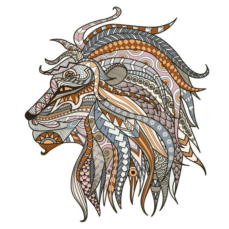 Cabeça modelada da cabeça do leão no fundo branco Africano, boho, indiano, totem, projeto da tatuagem Pode ser usado para o proje ilustração do vetor