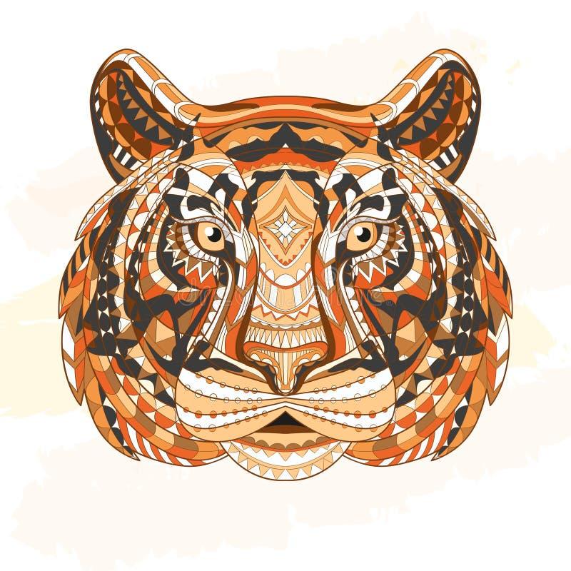 Cabeça modelada detalhada do tigre Projeto asteca tribal étnico do totem indiano africano no fundo do grunge Pode ilustração stock