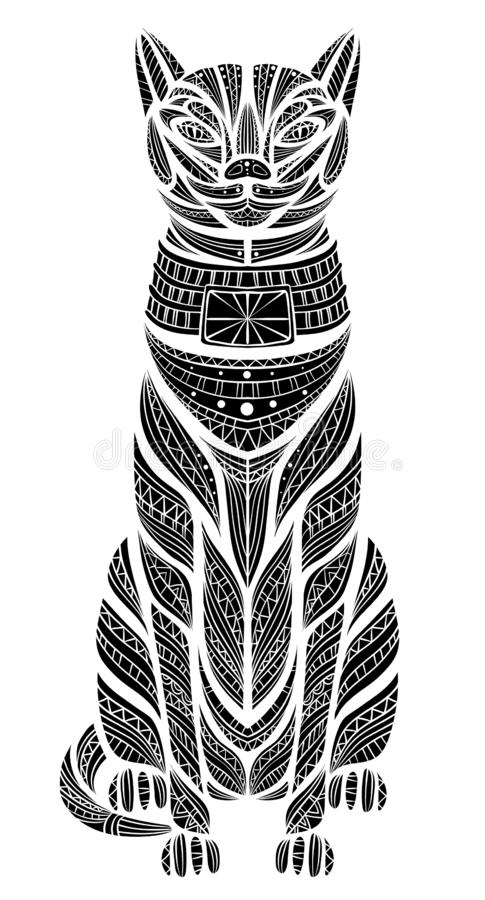 Cabeça modelada do gato Africano/indiano/de totem/tatuagem de Egito projeto Pode ser usado para o projeto de um t-shirt, saco, ca ilustração stock