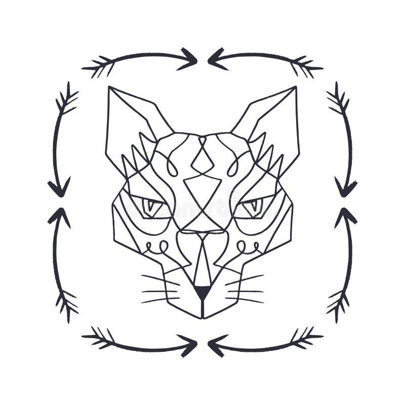 Cabeça modelada do gato oriental, cara animal no fundo branco ilustração stock