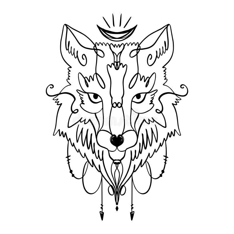 Cabeça modelada do lobo, cara animal no fundo branco Totem africano ou indiano, estilo do boho, projeto instantâneo da tatuagem ilustração do vetor