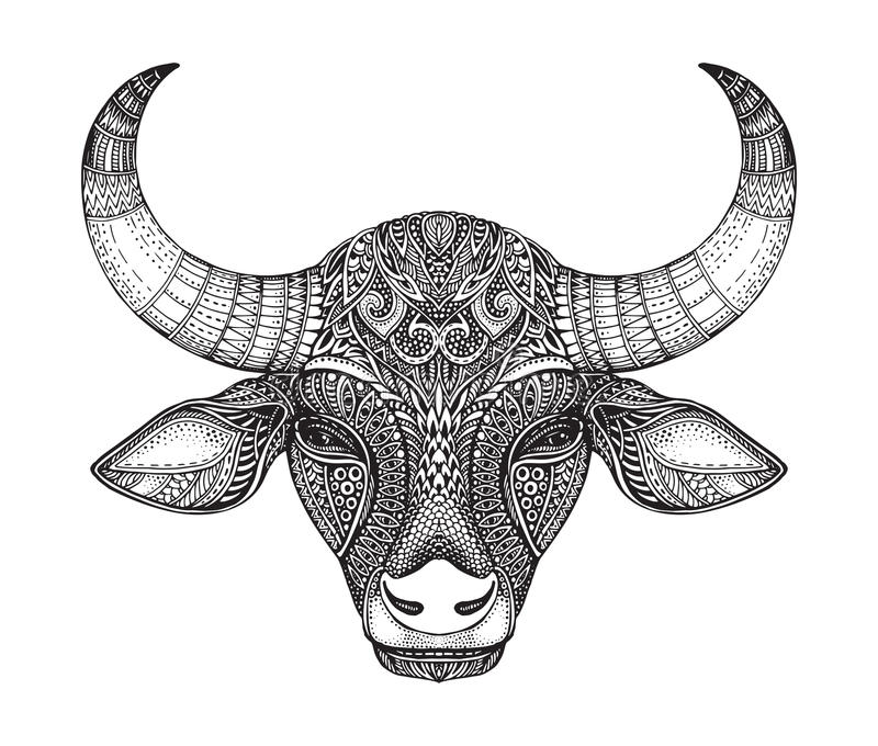 Cabeça modelada do touro ilustração royalty free