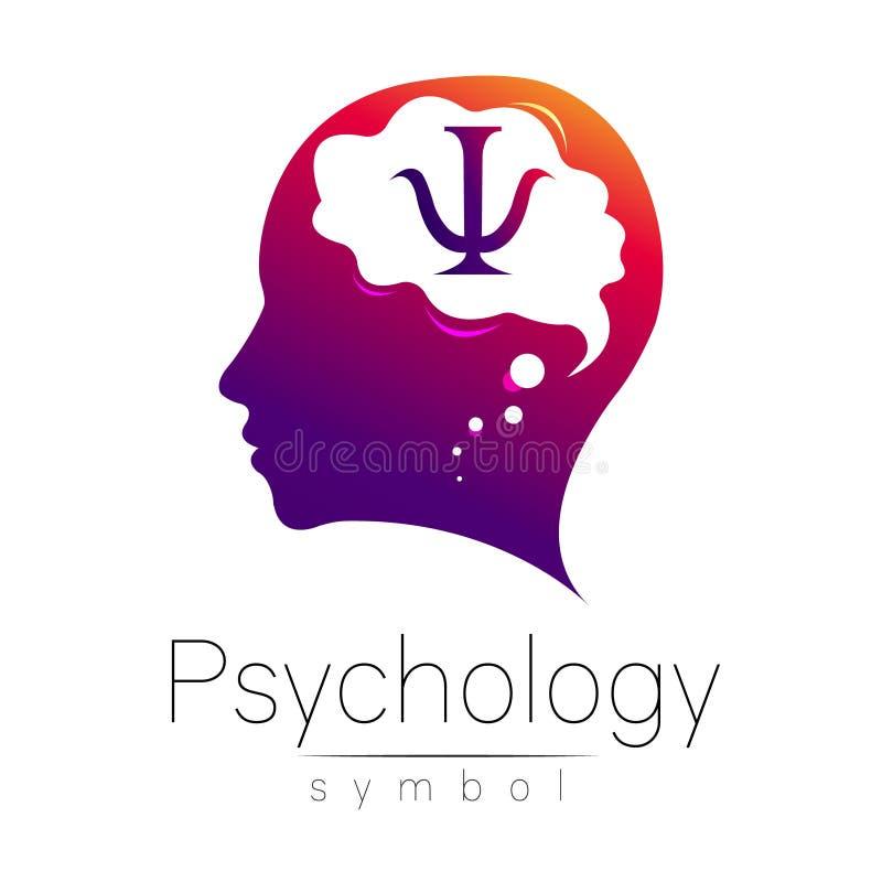 Cabeça moderna com letra libra por polegada quadrada dentro do cérebro sinal da psicologia Ser humano do perfil Estilo creativo S ilustração royalty free