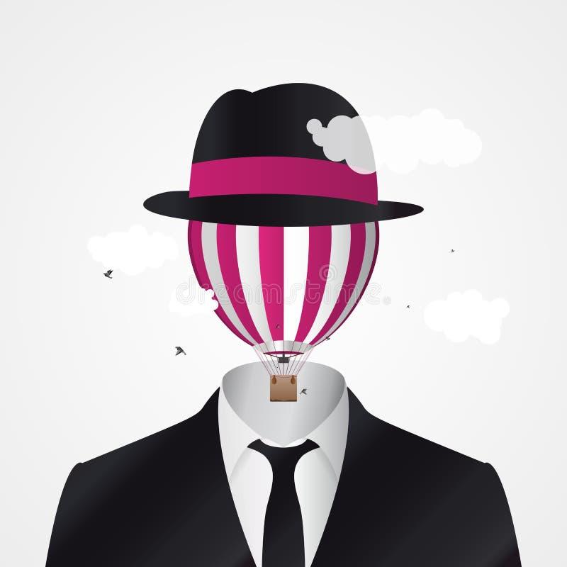 Cabeça nas nuvens Homem de negócios com o balão de ar quente ilustração stock