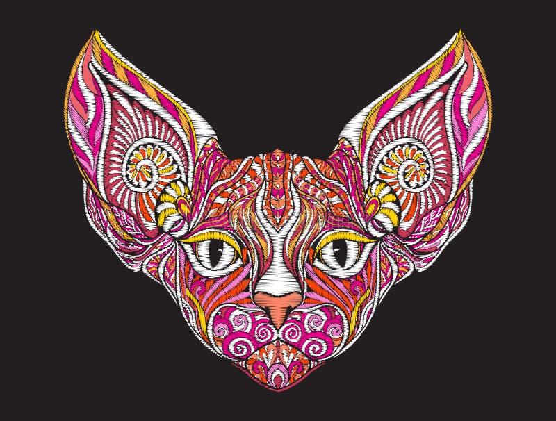Cabeça ornamentado modelada étnica do bordado do gato da esfinge ilustração stock