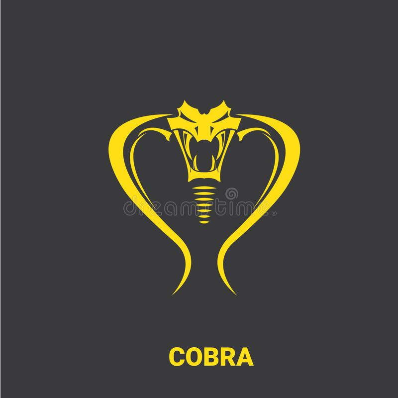 Cabeça perigosa da serpente da cobra do vetor com molde do projeto do logotipo da capa ícone da cobra de rei do perigo silhueta d ilustração royalty free