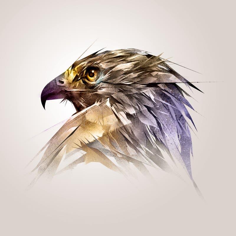 Cabeça pintada da cor do falcão do pássaro ilustração royalty free