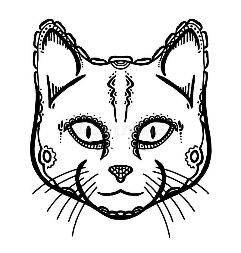 Cabeça pintada do gato ilustração stock